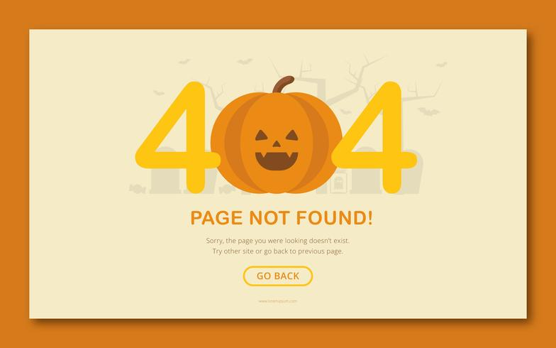 Halloween Illustration. Funny Horror Figures. 404 page error preview.