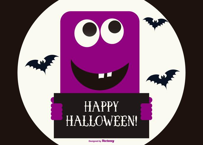 Cute Purple Happy Halloween Monster Illustration