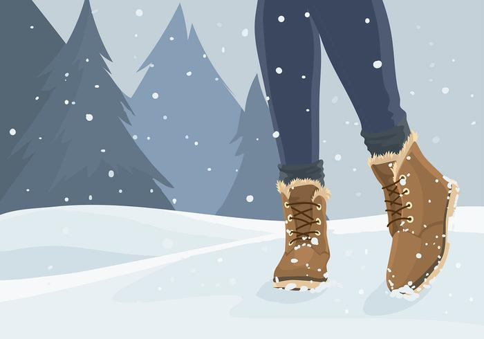 Woman in Snowshoes Free Vector