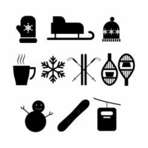 Free Winter Activities Silhouette Icon Vector