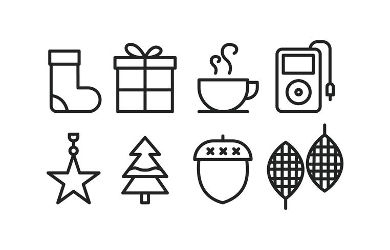 Winter icons in line style