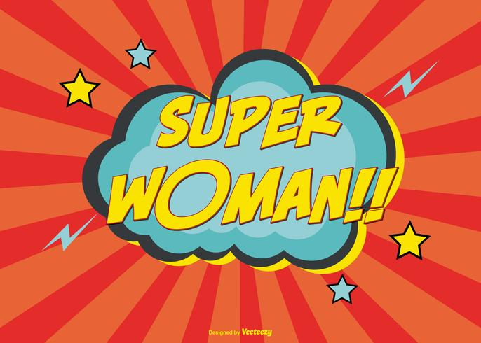 Comic Style Super Woman Lettering Illustration