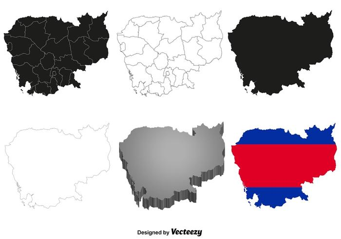 Mapa de Camboya del vector