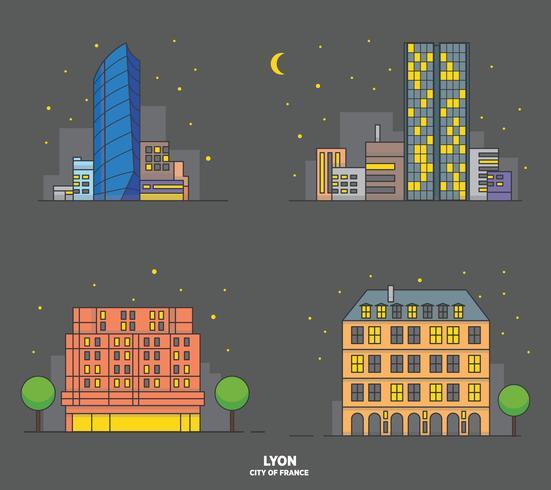 Ilustración de Vector de ciudad de edificio de noche de Lyon Landmark