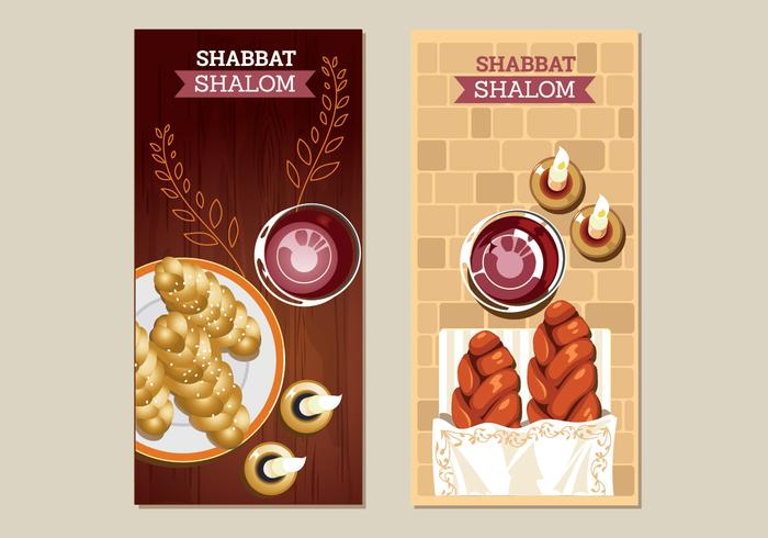 Tarjetas de felicitación Shabbat Shalom Vectors