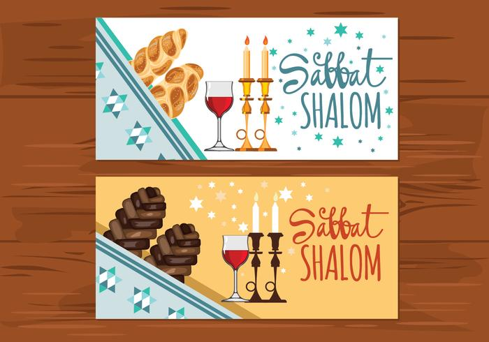 Shabbat Greeting Cards Vectores