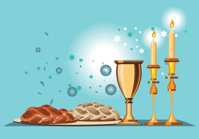 Shabbat Shalom Candles Vector