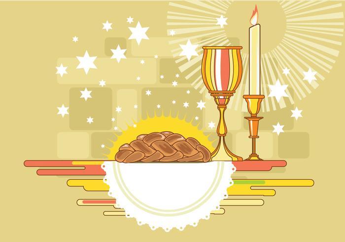 Shabbat Image with Challah Bread Vector