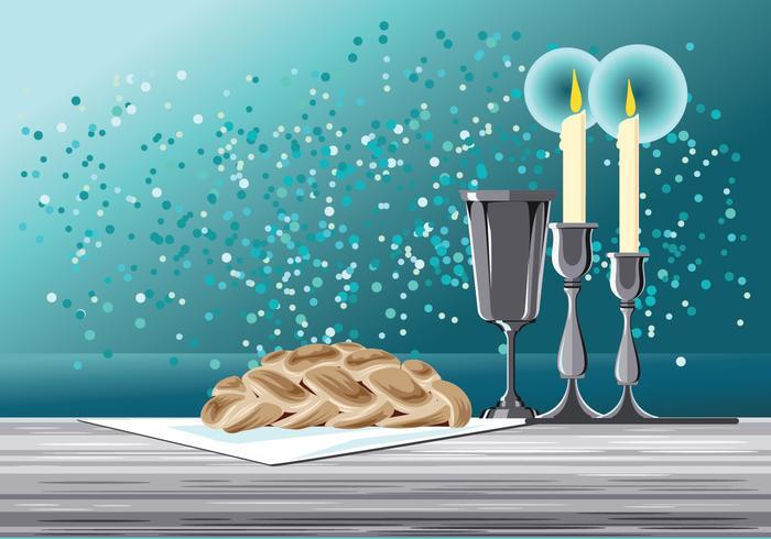 Schabbat-Bild mit Challah-Brot-Vektor