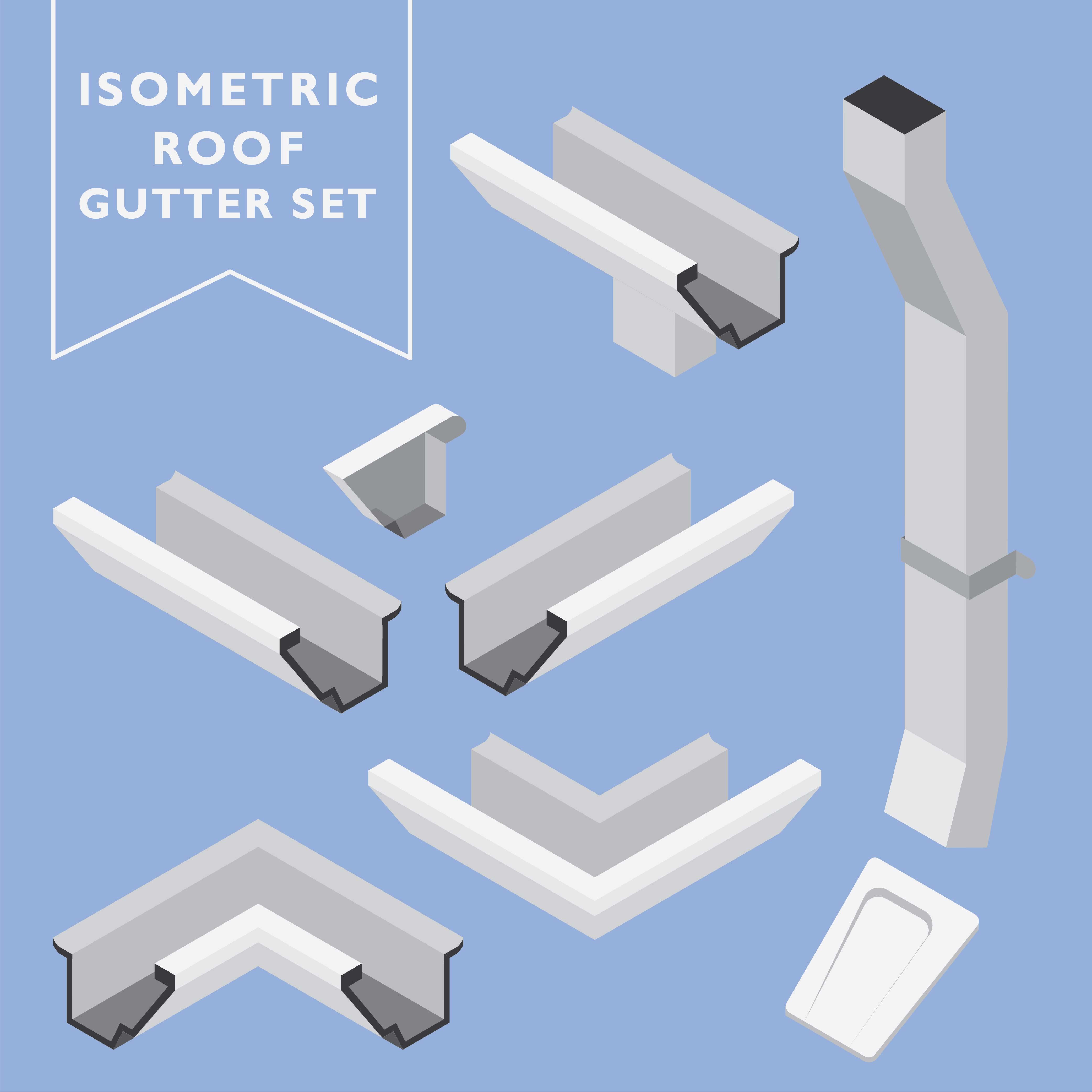 Isometric Roof Gutter Set Vector Download Free Vector