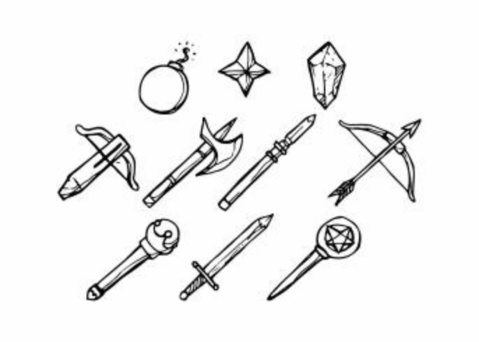 Free Sketch Games Weapon Icon Vector