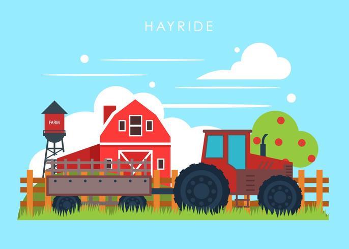 Hayride op een boerderij vector