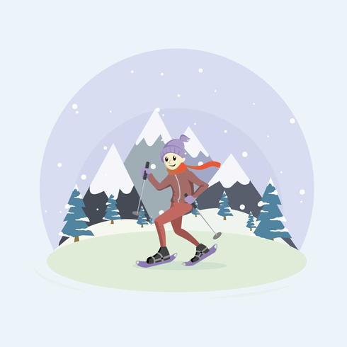 Man Met Sneeuwschoenen Illustratie