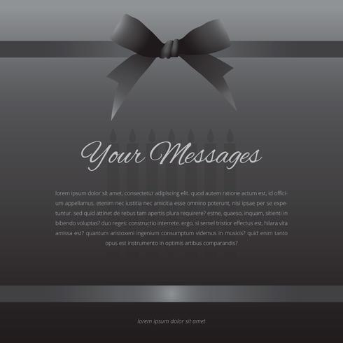 Elegant begravningskort med svart band.