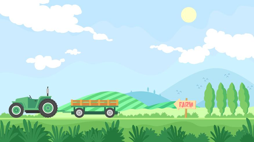 Hayride Goes To The Farm Free Vector