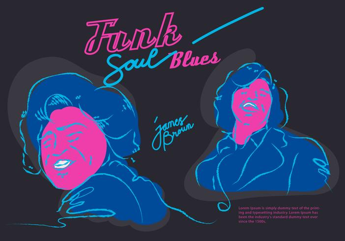 Ilustración de vector de James Brown Musician Funk Soul Blues Poster