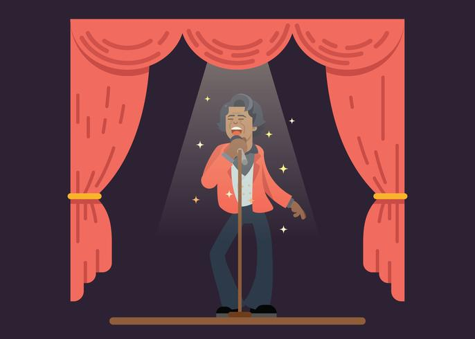 James Brown zingt op het podium