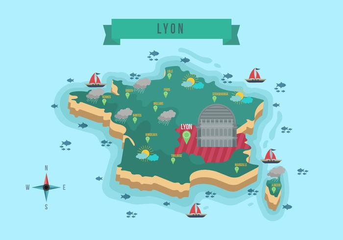 Map Of France With States.France Map With Lyon States Vector Illustration Download Free