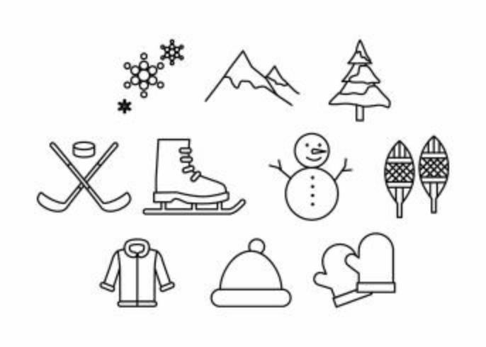 Free Winter Activities Line Icon Vector