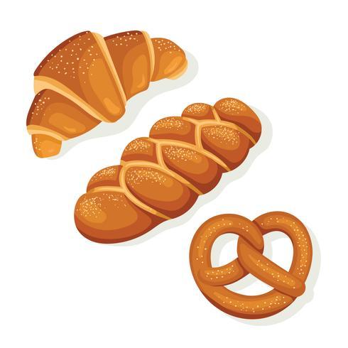 croissant. Challah, pretzel bread illustration vetor