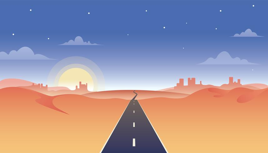 Highway Road Through Desert Illustration