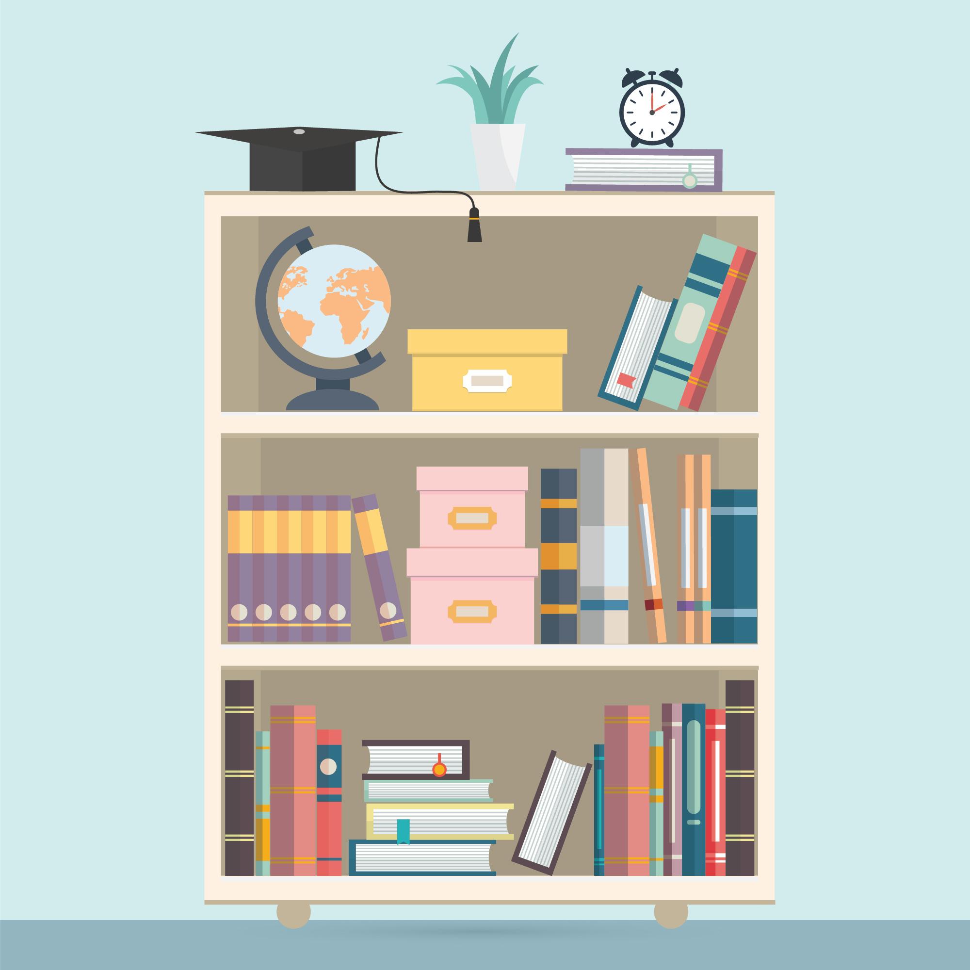 Bookshelf Illustration Vector - Download Free Vectors ...