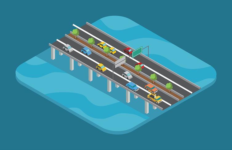 Highway Isometric Free Vector