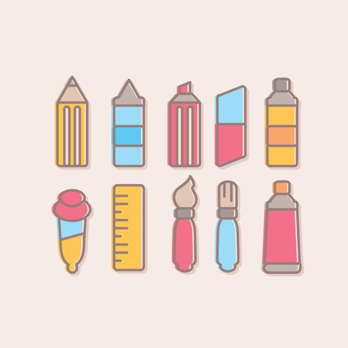 Vector Cute Art Supplies Collection