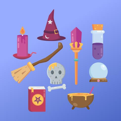 Witch and Wizard Icons vector