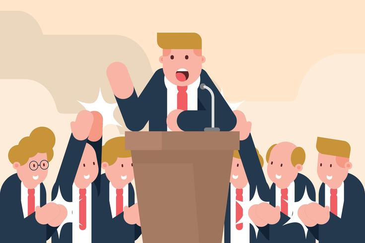 Político con audiencia manos aplaudiendo ilustración