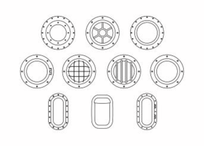 Free Porthole Collection Line Vector