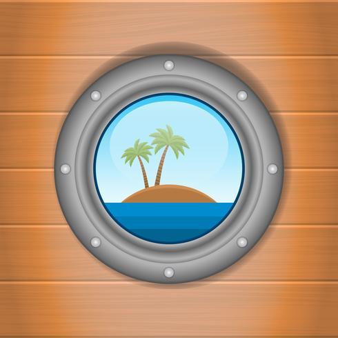 Ojo de buey con vistas al mar y la ilustración de la isla