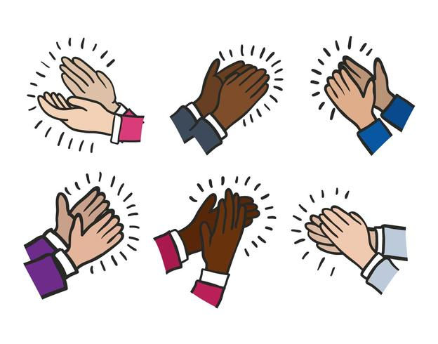 Hands clapping vector set