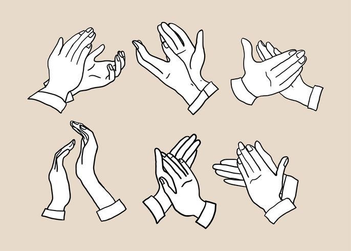 Handklapping Handgetekende Vector