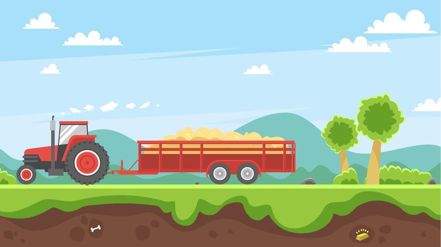Hayride Carrying Straw Vector