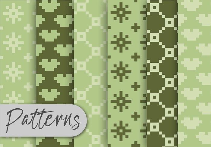 Olive Green Pxel Pattern Set