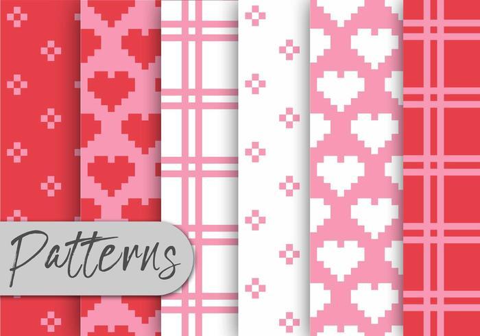 Valentine Pixel Pattern Set vetor