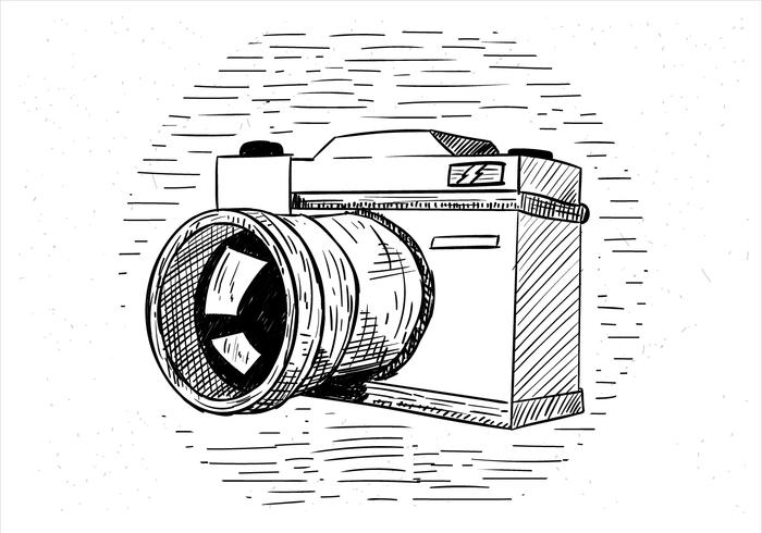 Free Hand Drawn Vector Camera Illustration
