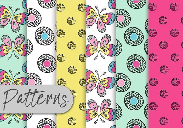 Colorful Doodle Pattern Set