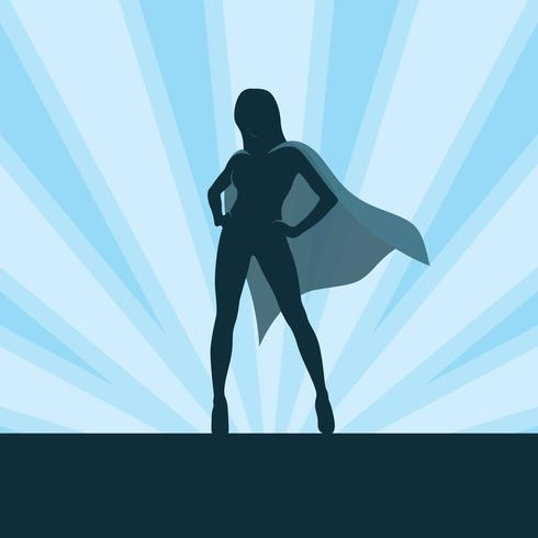 Girl Superhero On Burst Background