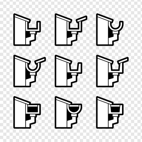 Rain Gutter For Drainage System Icons