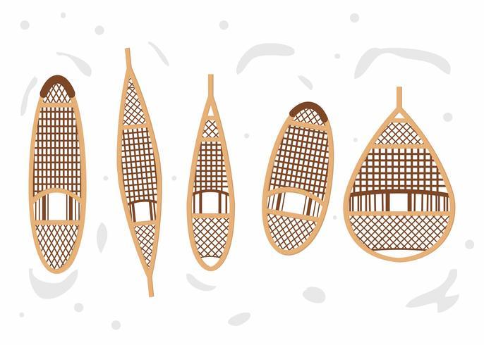Wooden Snowshoe Set Vector