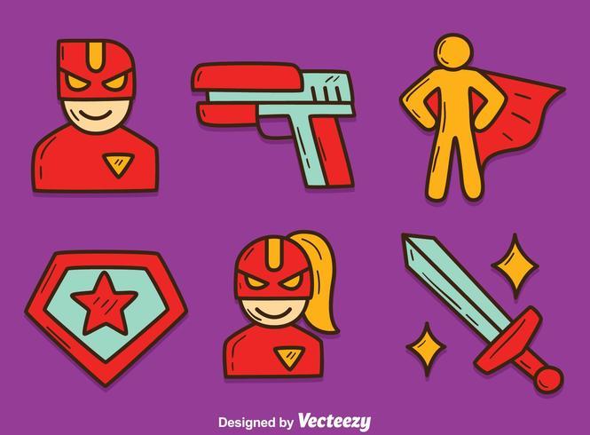 Vector desenhado a mão do elemento do super-herói