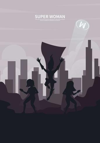 Free Silhouette Superwoman Illustration
