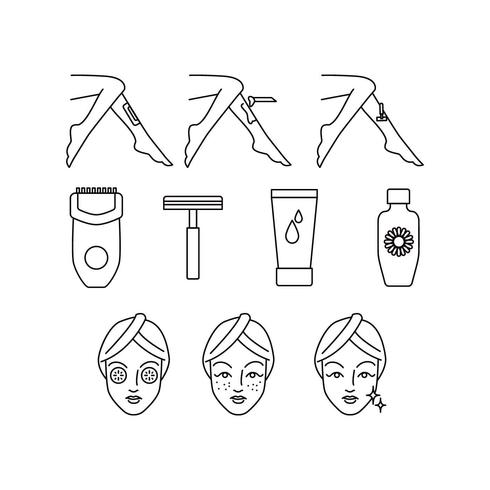 Kostenlose Hautpflege-Linie-Symbol-Vektor vektor
