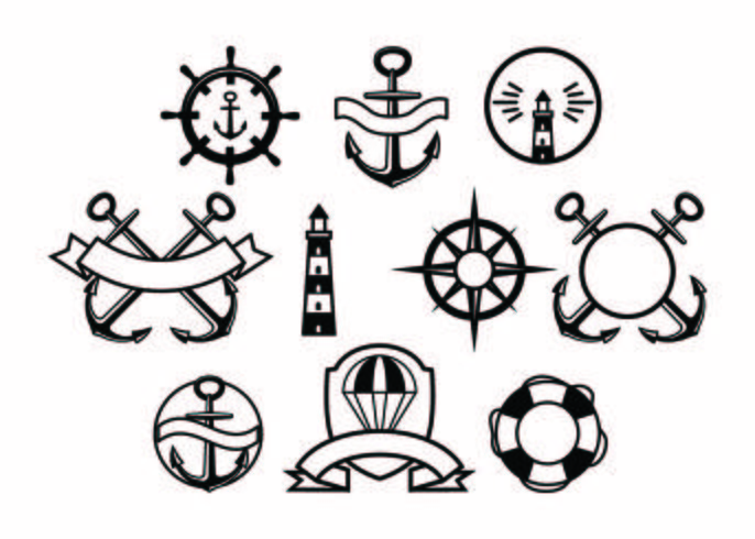 Free Nautical Badge Collection Vector