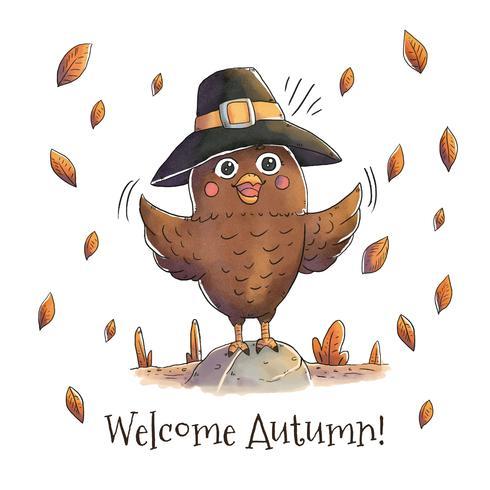 Leuke uil met herfst hoed en bladeren vallende Vector