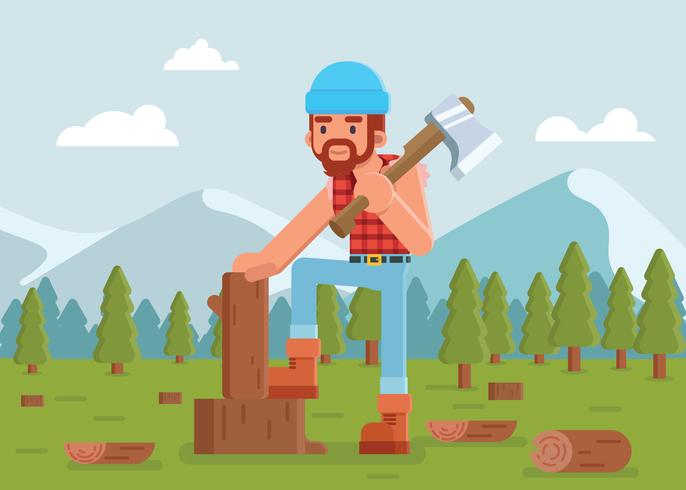 Woodcutter Cutting Lumber Illustration