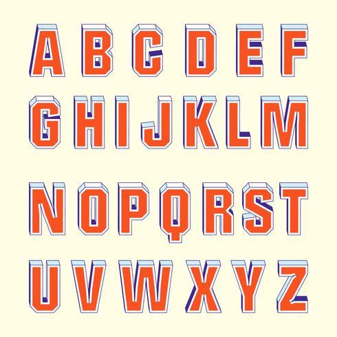 3D Fonts Retro Vector