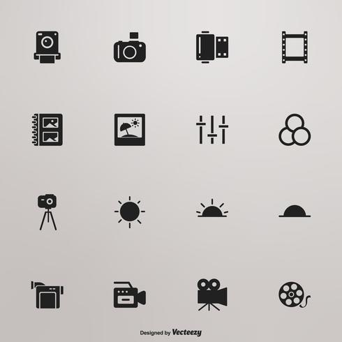 Photo And Video Black Silhouette Vector Icon Set
